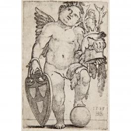 Genio femenino sujetando un escudo