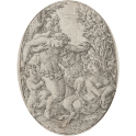 Bacchanalia with satyrs supporting a drunk young man