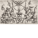 Ornament fillet with a male and a female centaur flanking a burning urn