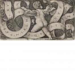 Genio con el alfabeto en una filacteria