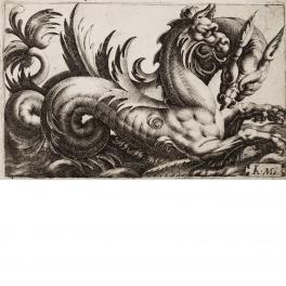 Pareja de monstruos marinos cabalgando sobre las olas