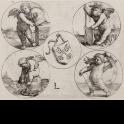 Escudo de armas de la ciudad de Leiden rodeado de cuatro putti dentro de círculos