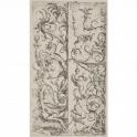 Two upright ornament panels with half-designs for candelabra