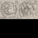 Ornamento con sirena y tritón dentro de dos zarcillos