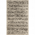 Ten friezes arranged horizontally with vine, masks, tendrils, dolphins, etc.