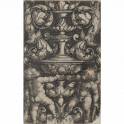Ornamental design with two putti standing at the base of a vase