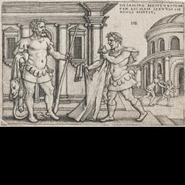 Licas entega a Hércules la túnica  empapada con la sangre envenenada del centauro Neso