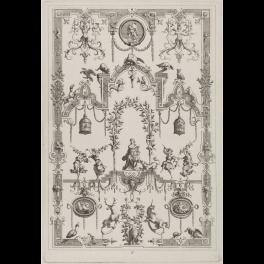 Panel ornamental de grutescos con Hércules y Anteo en un medallón