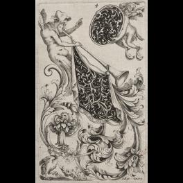 Fiiguras grotescas con ornamentos de roleos y volutas a la Maniera Nera