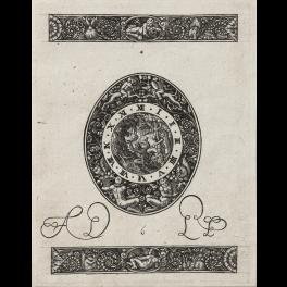Diseños para orfebrería con esfera de reloj con escena mitológica y dos frisos ornamentales en Blackwork