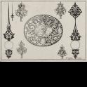 Ornamento ovalado con escena de Eneas y Anquises huyendo de Troya y varios diseños para manillas y llaves de reloj