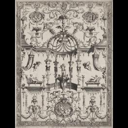Panel ornamental de grutescos con Cupido