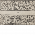 Two panels with grotesque figures