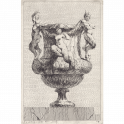 Vase decorated with two standing satyrs leaning on the mouth, and tritoness sitting on the handle.