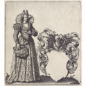Coat-of-arms template with lady with an ostrich feather fan