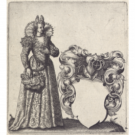 Plantilla para escudo heráldico con dama con abanico de plumas de avestruz