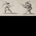 Gobbi empuñando dos dagas y Gobbi blandiendo dos espadas