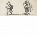 Dwarf  playing bagpipes and dwarf with plumed hat playing hurdy-gurdy