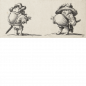 Hunchbacked dwarf with jacket buttoned in the back and dwarf with prominent stomach wearing a plumed hat