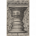Design for the capital and base of a column against arabesque background