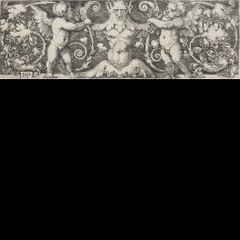Ornamento con figura grotesca entre dos putti