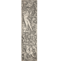 Vertical design with swirling acanthus leaves with a putti riding a sphinx and a nude male figure above